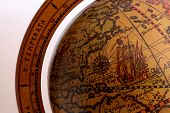 stock photo of north sudan  - old brown globe with many different counties - JPG
