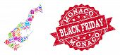 Black Friday Composition Of Mosaic Map Of Monaco And Scratched Stamp Seal. Vector Red Seal With Scra poster
