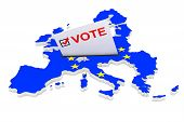 Voting In Europe Concept. Voting Card Half Inserted In Ballot Box In Shape Of European Union Map Wit poster