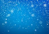 Snowfall Christmas Background. Flying Snow Flakes And Stars On Winter Blue Sky Background. Winter Wi poster