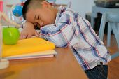 Lazy Stressed Young Little Asian Kid Boy  Resting Sleeping On Desk. Child Fall Asleep. Children Tire poster