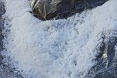 White Snow Texture On A Gray Plastic Cellophane Wall poster