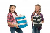 Kids Little Girls With Braids Hairstyle Hold Piles Gift Boxes. Children Excited About Unpacking Gift poster