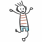 Boy In Shorts And A T-shirt Is Jumping. Style Of Childrens Drawing. Vector Illustration. Outline Dra poster