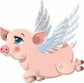 Pretty Pink Pig With Wings. Illustration Of Cute Pig Cartoon Isolated On White Background. Pig Carto poster