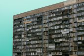 Residential Building In A Postsocialist Country. Slums, Social Housing At High Prices. Residential M poster