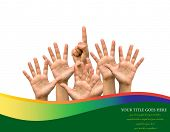 Photo of raised hands and one hand point up isolated on white background