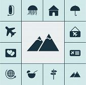 Trip Icons Set With Parasol, Picture Airplane, House And Other Flight Elements. Isolated  Illustrati poster