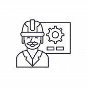 Production Presentation Line Icon Concept. Production Presentation Vector Linear Illustration, Symbo poster