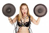 blond woman in lingerie holding huge stereo woofer