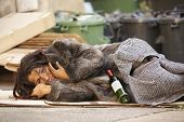 image of tramp  - poor woman tramp lying among bin with wine bottle - JPG