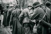 German Soldiers In Captivity Go In Line For Soviet Soldiers poster
