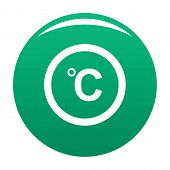 Celsius Icon. Simple Illustration Of Celsius Vector Icon For Any Design Green poster