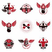 Gym Weightlifting And Fitness Sport Club Logo, Retro Stylized Vector Emblems Or Badges Set. poster