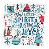 Christmas Greeting Card Hand Drawn Vector Template. Spirit Of Christmas Quote, Slogan. Scandinavian  poster