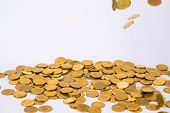 Movement Of Falling Gold Coin, Flying Coin, Rain Money With Soft Shadow On White Background, Busines poster