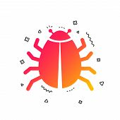 Bug Sign Icon. Virus Symbol. Software Bug Error. Disinfection. Colorful Geometric Shapes. Gradient B poster