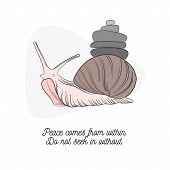 Vector Slime Mollusk  With Stone Pyramid. Keep Calm Quote. Snail Nature Wildlife Cuye Text. Inspirat poster