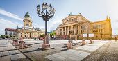 Panoramic View Of Famous Gendarmenmarkt Square With Berlin Concert Hall And German Cathedral In Gold poster