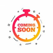 Coming Soon Sign Icon. Promotion Announcement Symbol. Colorful Geometric Shapes. Gradient Coming Soo poster