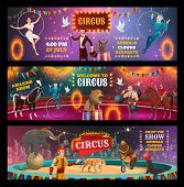 Vector Circus Show And Carnival Performance Of Clown, Magician And Animal Trainer, Juggler, Acrobats poster