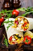 Burritos Wraps With Chicken Meat And Vegetables On Wooden Background poster