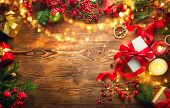 Christmas Gifts background, beautiful Xmas and New Year backdrop with colorful wrapped gifts box, ba poster
