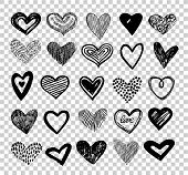 Doodle Hearts. Hand Drawn Love Heart Icons. Scribble Sketch Valentine Grunge Hearts Vector Elements  poster