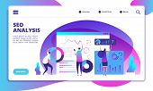 Seo Analysis. Internet Marketing, Modern Social Technology. Seo Service Landing Page Vector Concept. poster