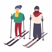 Young Couple Skiing Together. Happy Smiling Man And Woman On Skis. Winter Sports And Recreational Ac poster