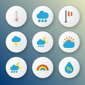 Climate Icons Flat Style Set With Rainy, Shower, Frost And Other Bow Elements. Isolated Vector Illus poster