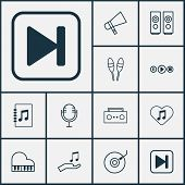 Audio Icons Set With Audio Buttons, Microphone, Megaphone And Other Skip Song Elements. Isolated  Il poster