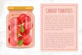 Canned Tomato Veggies Preserved Food In Screw-cap Glass Jar. Cherry Vegetable With Bay Leaf, Whole P poster