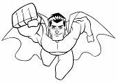 Front View Full Length Line Art Illustration Of A Determined And Powerful Superhero Wearing Cape And poster