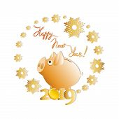 Cute Yellow Piggy Bank In A Halo Of Snowflakes. Yellow Piggy Symbol Of The 2019 Year. New Year Greet poster