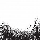Spring grass silhouette poster