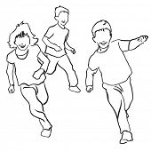 picture of children playing  - Sketch style drawing of happy children playing - JPG