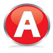 stock photo of alphabet letters  - Letter A button - JPG