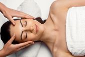 Portrait Of Young Beautiful Woman In Spa Salon.spa Body Massage Treatment And Skincare.leisure. Face poster