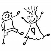 Children Playing Boy With Girl. Style Of Childrens Drawing. Vector Illustration. Outline Drawing On  poster