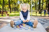 Funny Caucasian Baby Girl Blonde Does Not Want Learn, Does Not Want To School, Want To Play, Laugh A poster