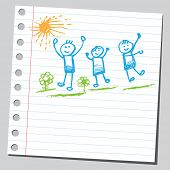 stock photo of happy kids  - Scribble active kids - JPG