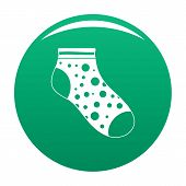 Small Sock Icon. Simple Illustration Of Small Sock Vector Icon For Any Design Green poster