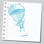 Hand drawn parachuter