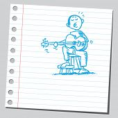 Scribble style illustration guitarist