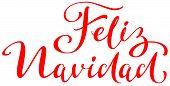 Feliz Navidad Text Translation From Spanish. Merry Christmas Lettering Greeting Card poster