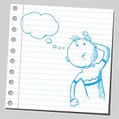 image of bubble sheet  - Sketchy illustration of a thinking man - JPG
