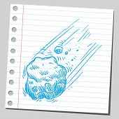 Sketchy illustration of a meteor
