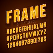 Vector 3d Alphabet Font With Frame And Shadow On Red Background. Modern Typeface Design Collection W poster