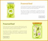 Preserved Food Posters Set With Text Canned Jars With Vegetables. Pickled Olives With Sticker On Bot poster